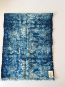 Back of antique Pin Bu scarf showing hand dyed quality